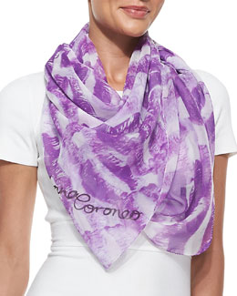 Anna Coroneo Kisses Lip-Print Chiffon Scarf, Purple/White