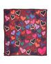Hearts Printed Chiffon Scarf, Rouge