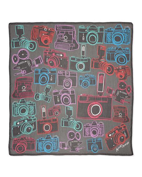 Camera-Print Scarf, Neon/Black