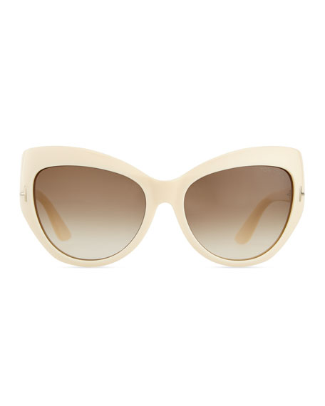 Injected Cat-Eye Sunglasses, Ivory