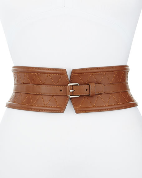 Panel Quilted Leather Corset Belt, Camel