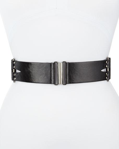 Nanette Lepore Studded Leather Stretch Belt, Black