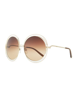 Chloe Round Wire-Frame Metal Sunglasses, Rose Gold