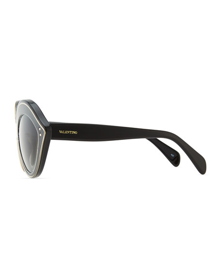 Chunky Metal-Edged Cat-Eye Sunglasses, Black