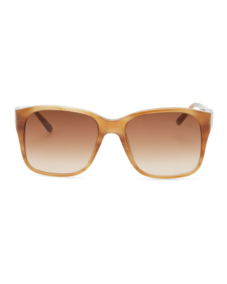 Square Sunglasses with Embellished Sides, Havana