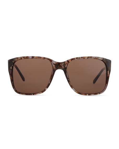 Square Sunglasses with Embellished Sides, Honey