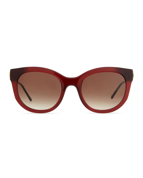 Lively Acetate Sunglasses with Metal Arms, Dark Red