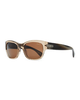 Lanvin Transparent Rectangle Sunglasses, Brown