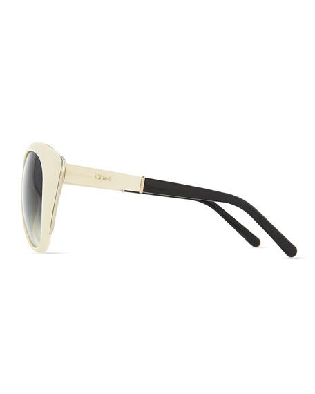 Oversized Cat-Eye Sunglasses, Cream