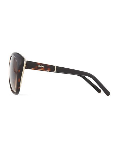 Oversized Cat-Eye Sunglasses, Tortoise