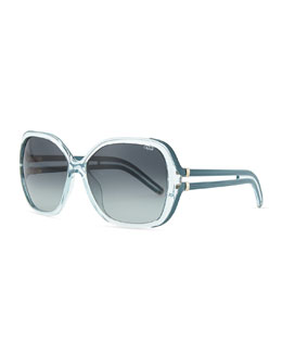 Chloe Clear Acetate Square Illusion Sunglasses, Light Azure