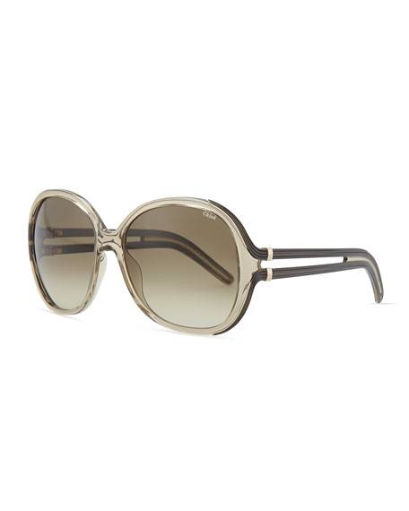 Clear Acetate Square Sunglasses, Brown