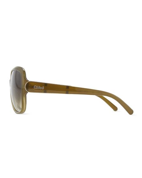 Acetate Square Sunglasses, Khaki