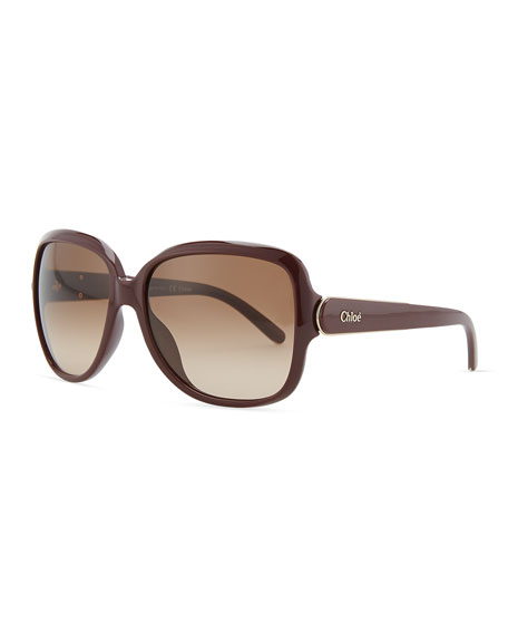 Acetate Square Sunglasses, Bordeaux