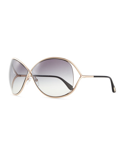 Miranda Wrap Sunglasses, Rose Gold
