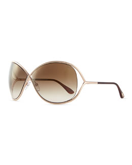 Tom Ford Miranda Wrap Sunglasses with Flash Lens, Gold