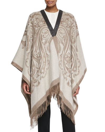 Etro Cashmere Poncho with Leather Trim