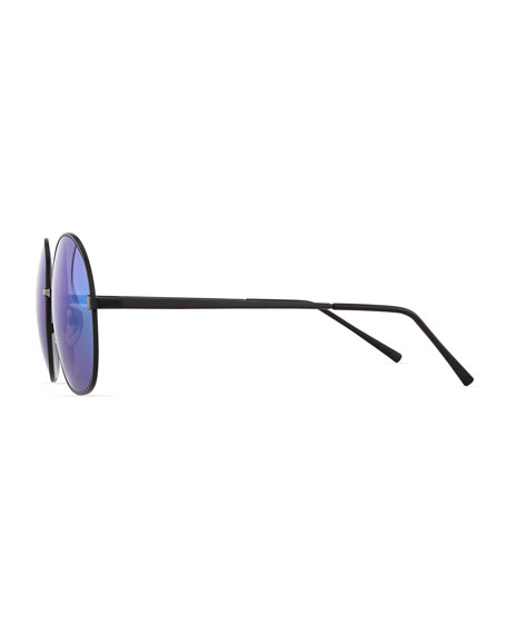 Alina Round Mirrored Sunglasses, Black