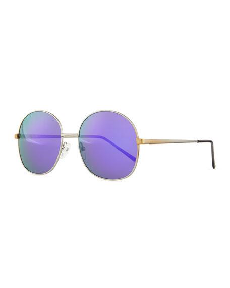 Alina Round Mirrored Sunglasses, Silver