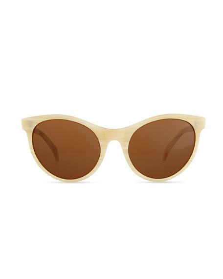 Claire Cat-Eye Sunglasses, Cream