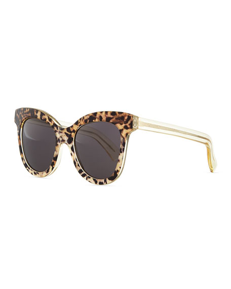 Holly Cat-Eye Sunglasses, Leopard