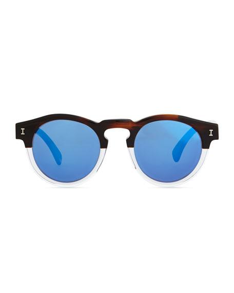 Leonard Round Half & Half Sunglasses, Brown