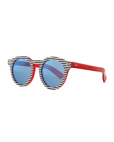 Leonard II Striped Round Sunglasses, Blue/White