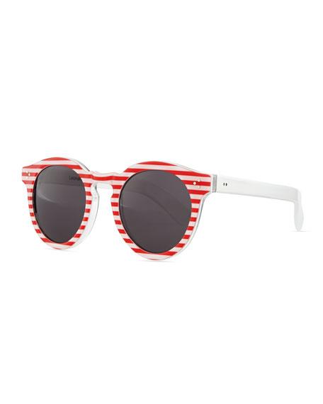 Leonard II Striped Round Sunglasses, Red/White