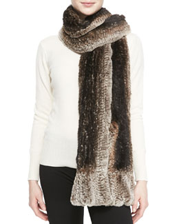 Belle Fare Knitted Rabbit Fur Pocket Wrap