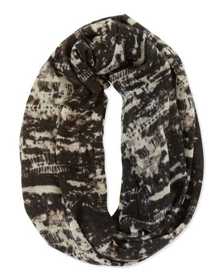 Marble-Print Infinity Scarf, Black/Ivory