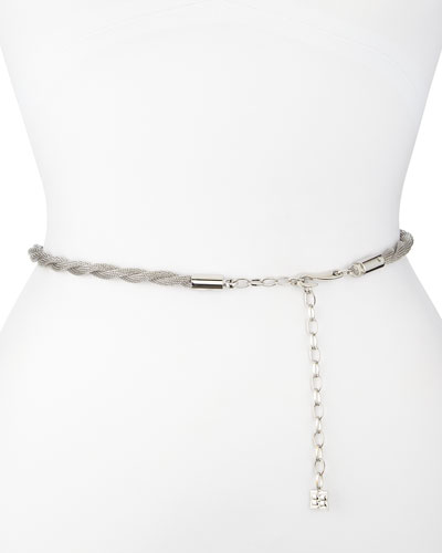 BCBGMAXAZRIA Silvertone Twisted Chain Waist Belt