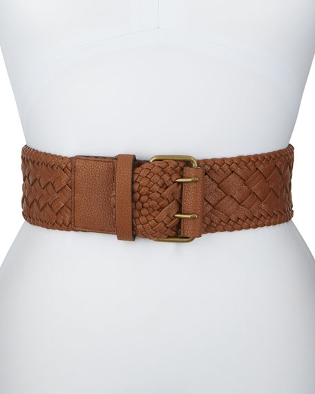 Braided Faux-Leather Belt, Cognac