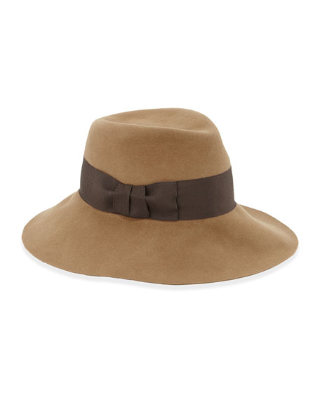 Tiffany Dramatic Fedora Rabbit Felt Hat, Camel