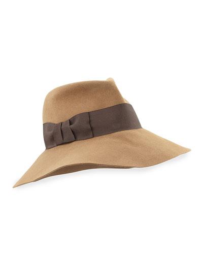 Eric Javits Tiffany Dramatic Fedora Rabbit Felt Hat, Camel