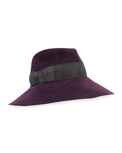 Eric Javits Tiffany Dramatic Fedora Rabbit Felt Hat, Plum