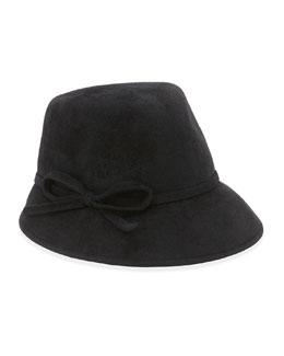 Eric Javits Bow Cap Fedora Rabbit Felt Hat, Black