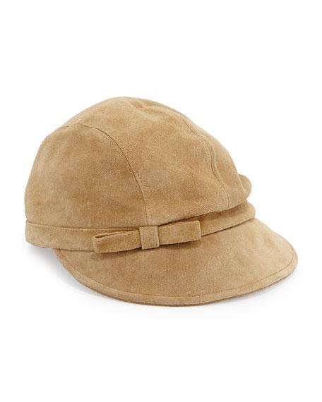 Packable Suede Equestrian Hat, Camel