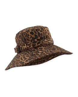 Eric Javits Kaya Water-Repellant Rain Hat, Leopard