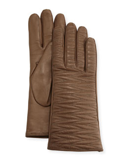 Woven-Topstitched Leather Gloves, Brown