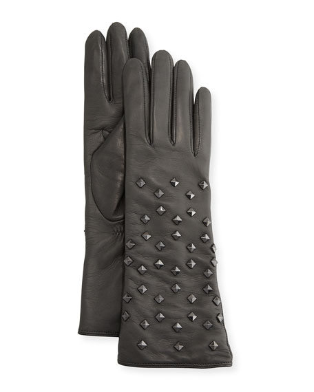 Leather Pyramid Studded Gloves, Gray