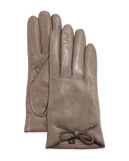 Leather Driving Gloves with Chain Bow, Hematite