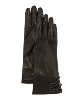 Double-Chain-Bow Leather Gloves
