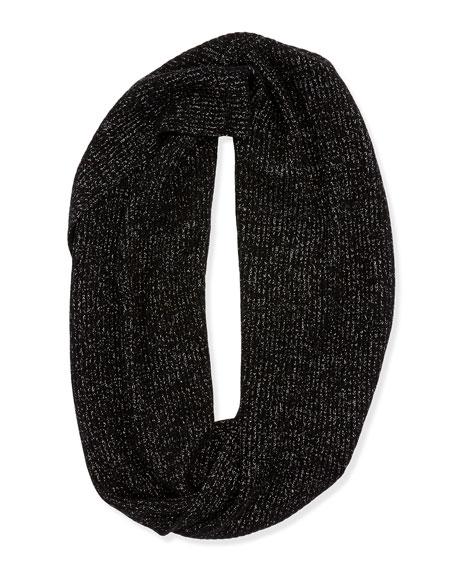 Cashmere Metallic Flecked Infinity Scarf, Black