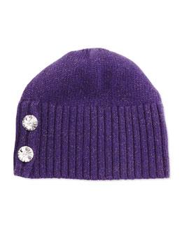 Crystal-Button Metallic Knit Hat, Purple