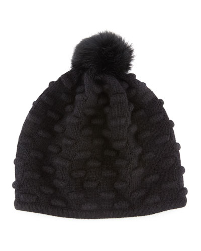 Portolano Bumpy Knit Winter Hat with Fur Pompom, Black