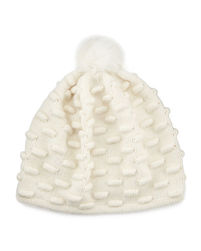 Portolano Bumpy Knit Winter Hat with Fur Pompom, White