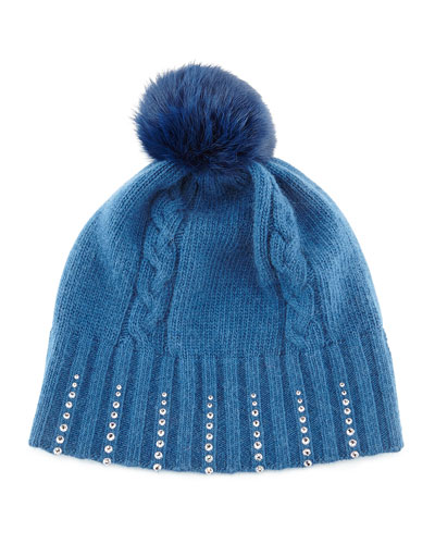 Portolano Winter Hat with Crystals & Fur Pompom, Sapphire