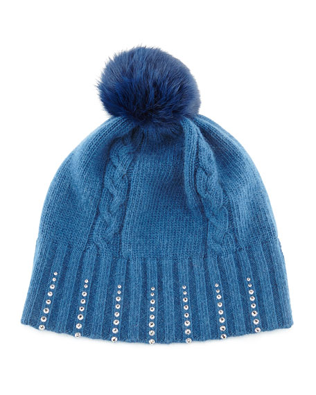 Winter Hat with Crystals & Fur Pompom, Sapphire