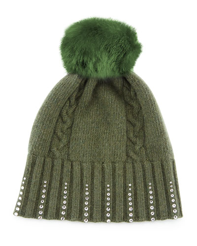 Portolano Winter Hat with Crystals & Fur Pompom, Loden Green