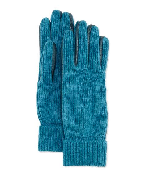 Portolano Leather-Trim Knit Gloves